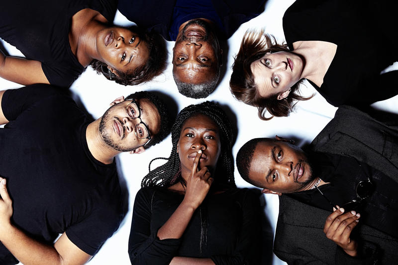 Starting from the middle-top and moving clockwise, Thomasi McDonald as Dad, Amy White as Kimber, TJ Swann as Flip, Tosin Olufolabi as Cheryl, Marcus Zollicoffer as Kent and Moriah Williams as Taylor.
