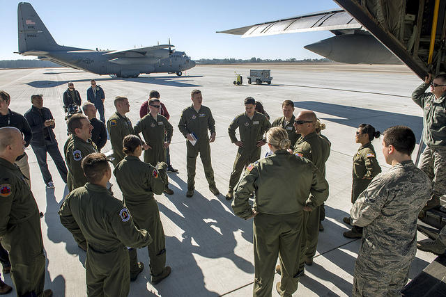 Airmen from the 440th Airlift Wing conduct aeromedical evacuation training on a C-130 in this 2014 photo.