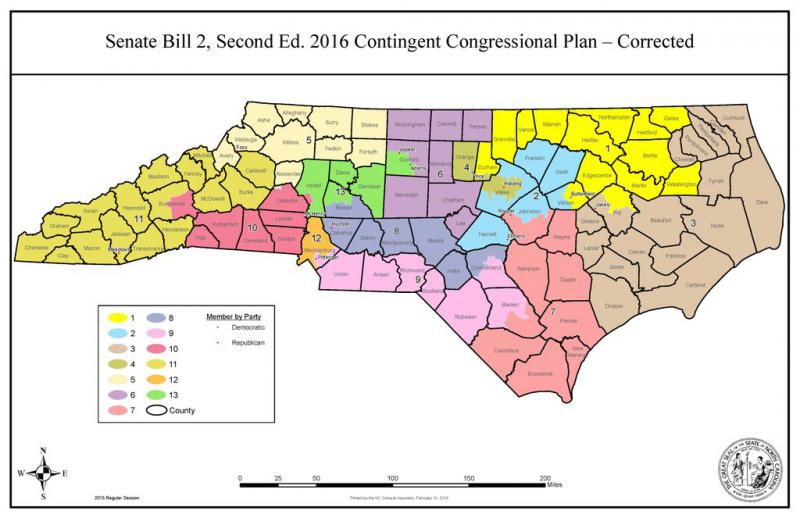 The gerrymandered North Carolina Congressional district map