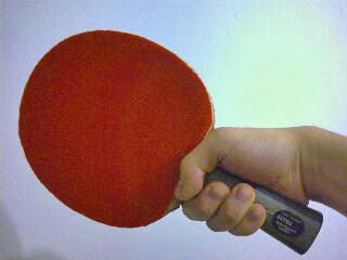 Shakehand grip of a table tennis racket.