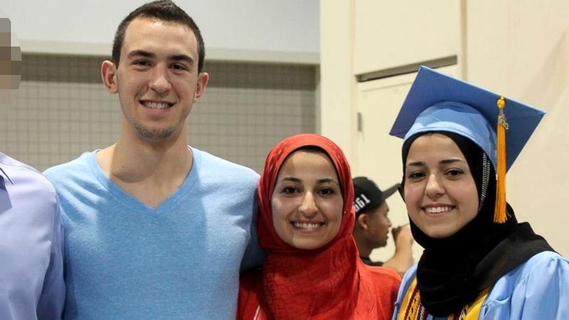 An image of Deah Barakat, Yusor Abu Salha and Razan Abu Salha