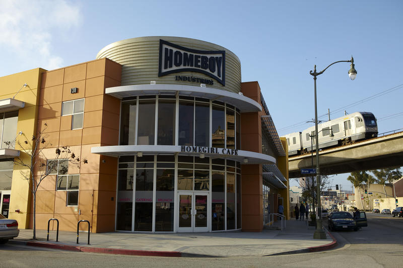 The exterior of Homeboy Industries in Los Angeles.