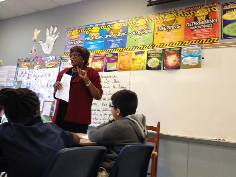 Wanda McLemore teaches a transitional fourth grade class at Falkener Elementary. The first half of her class is whole-group instruction.
