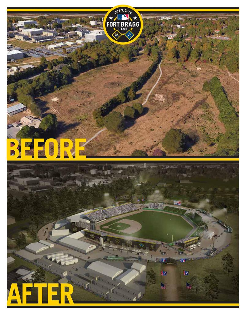 MLB's before and after images for the Fort Bragg Game