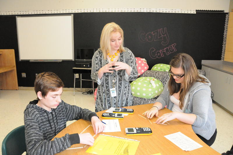 Lead teacher Amy Brewer goes over a Math lesson at Concord Middle School in Cabarrus County.