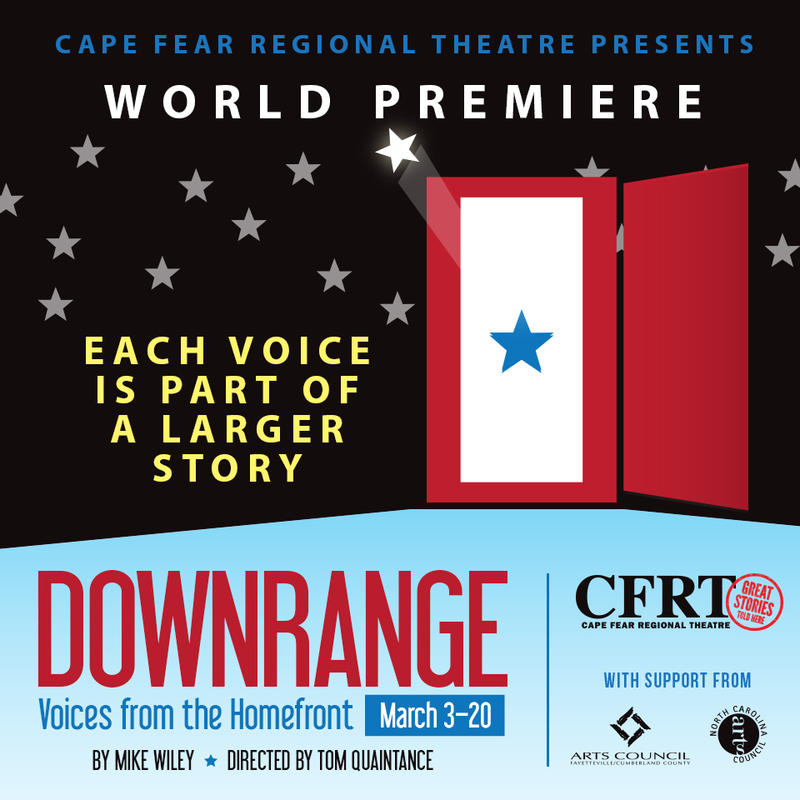 Poster for Downrange: Voices from the Homefront, a play at Cape Fear Regional Theatre