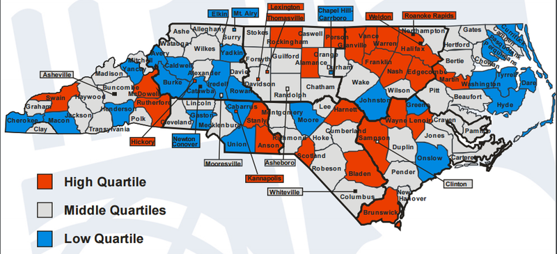 This DPI map shows the highest and lowest 3-year dropout rates by district.