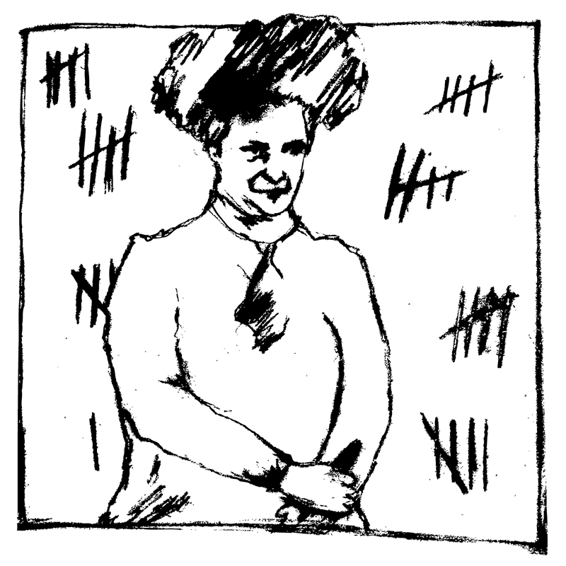 A drawing of 'Jolly' Jane Toppin