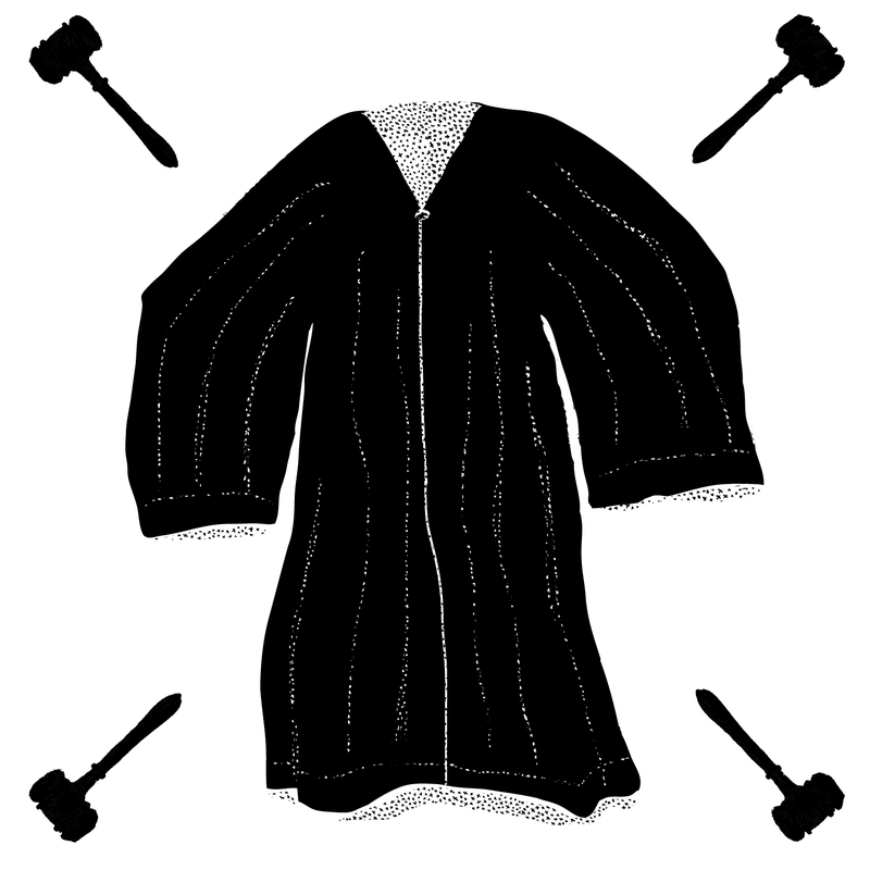 A drawing of a judge's robe.