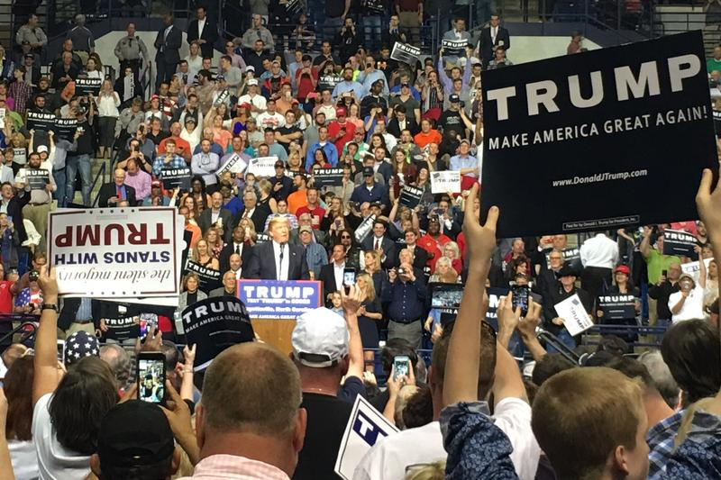 Republican presidential candidate Donald Trump attracted thousands of supporters to a rally in Fayetteville.