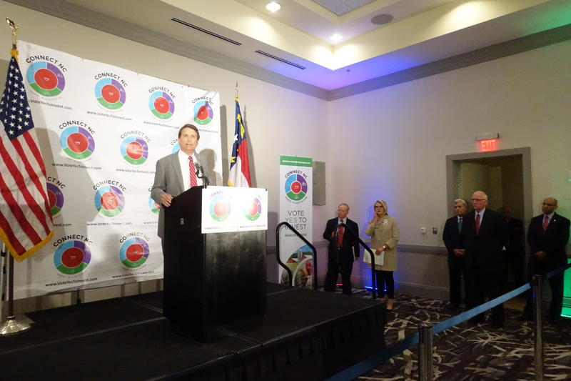 An image of Gov. Pat McCrory speaking after voters approved a $2.2B bond referendum