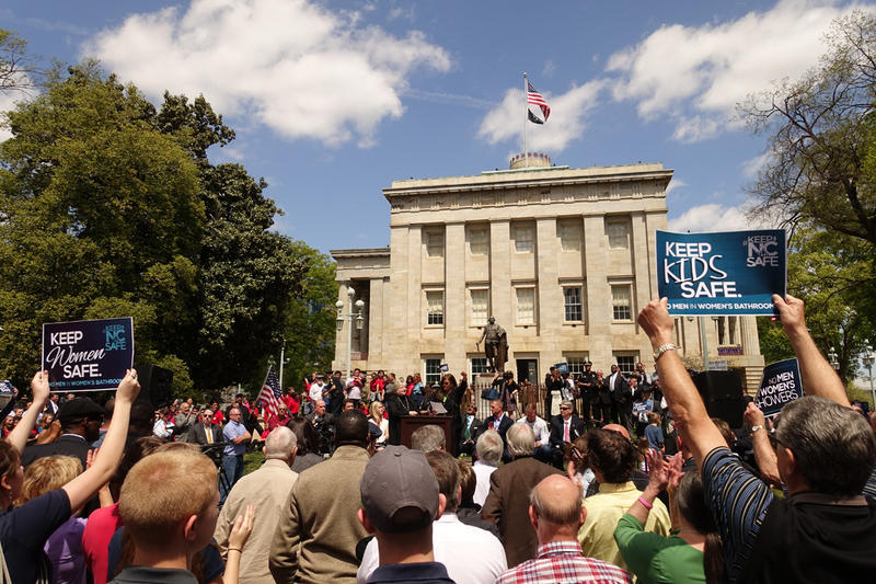 Photo: Hundreds of supporters of the controversial House Bill 2 gathered outside the state capitol building on Monday.