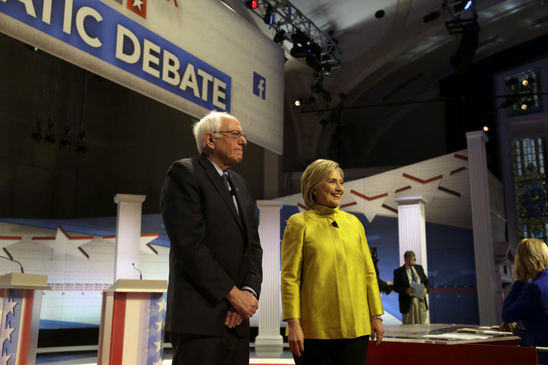 An image of Bernie Sanders and Hillary Clinton