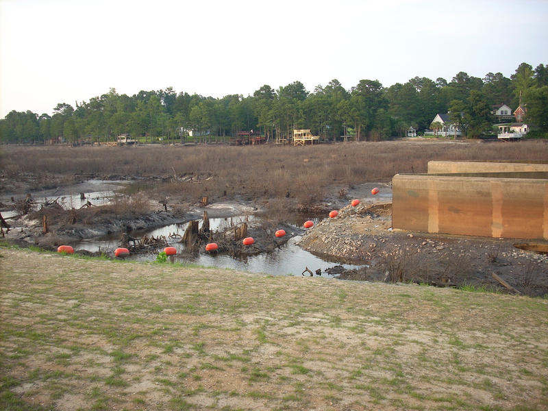 Hope Mills Dam after the replacement failed in 2010.