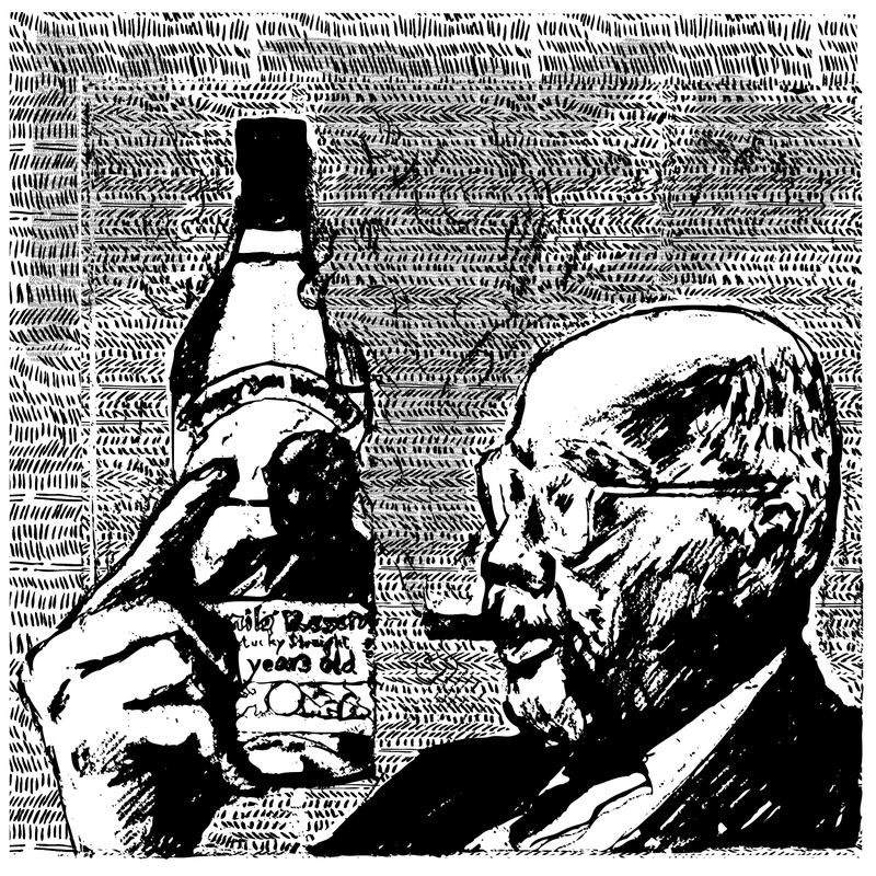 A drawing of a man with a bottle of Pappy Van Winkle.