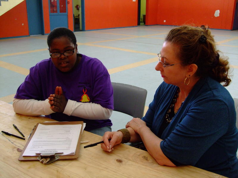 Wendee Wechsberg preparing for a study in a community center in Cape Town with Medical Research Council staff member Siphokazi Dada (left)