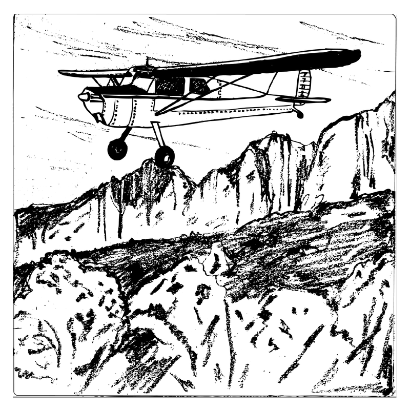 A n illustration of Rogers' Cessna over the Sierra Madre mountains.