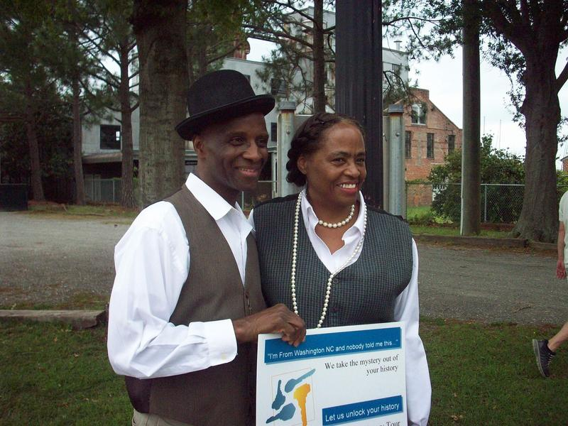 Leesa Jones and her husband Milt dressed as Hull and Cherry Anderson as they would have looked around 1840. Jones leads African-American history tours in Washington, NC.