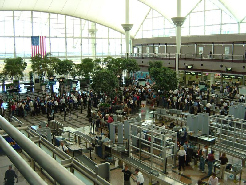 photo of airport security lines