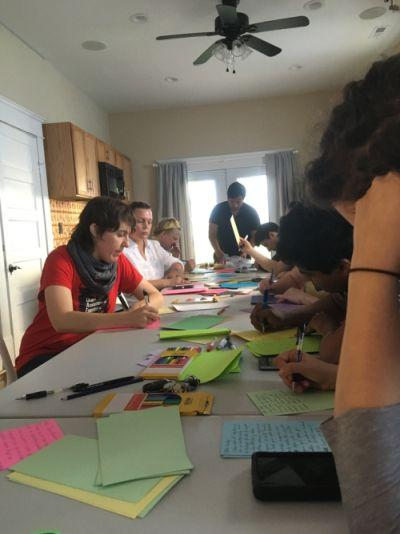Durhamites gathered at the LGBTQ Center to write letters.