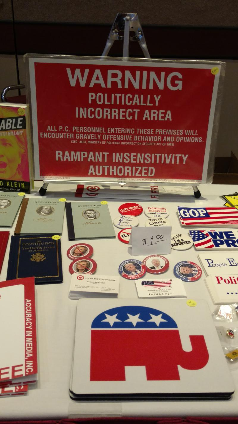 Tables of buttons, shirts and conservative swag was on display for convention goers.