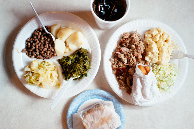 photo of a spread at Grady's Barbecue in Dudley, N.C.