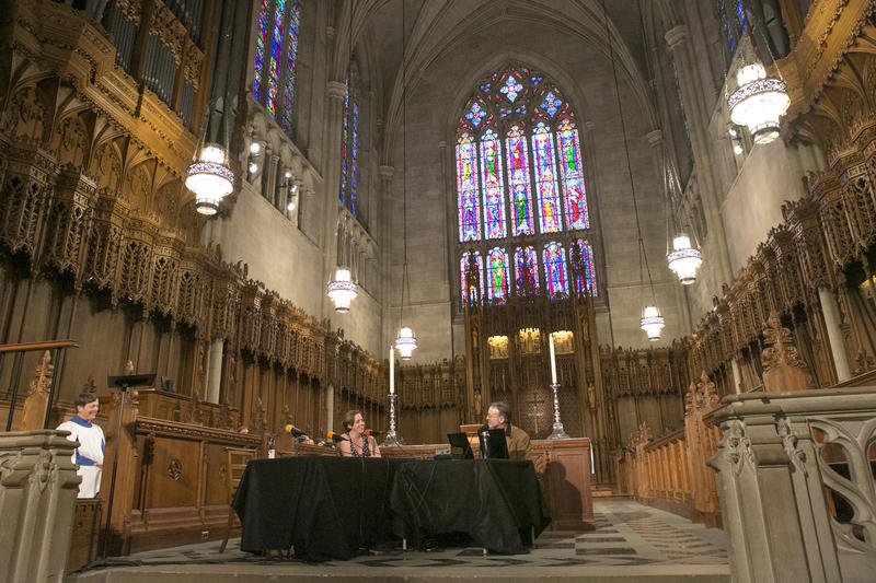State of Things Host Frank Stasio hosts a broadcast at the Duke Chapel on Wednesday, May 11, 2016 to commemorate the chapel's reopening.
