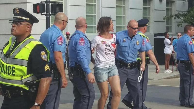 photo of Anca Stefan being arrested