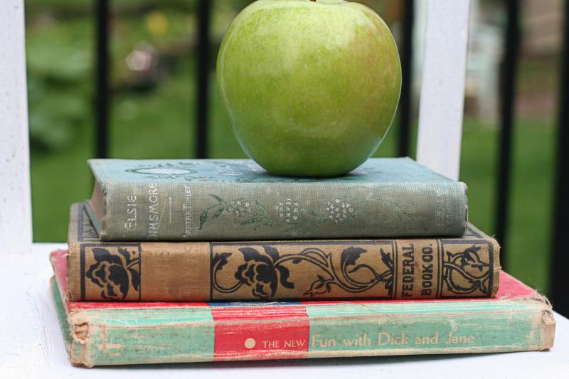photo of an apple on top of books
