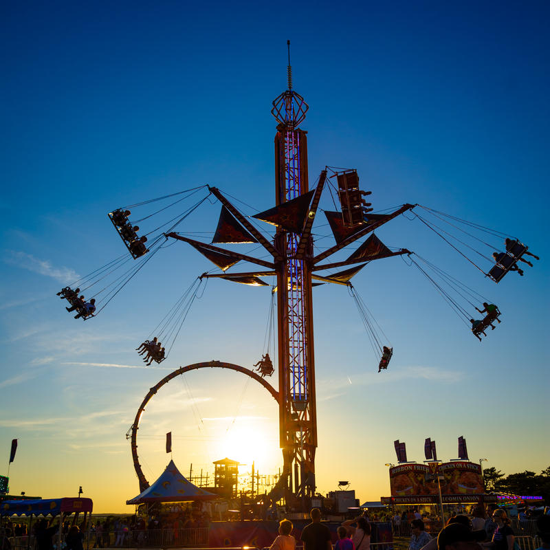 A giant swing at a county fair.