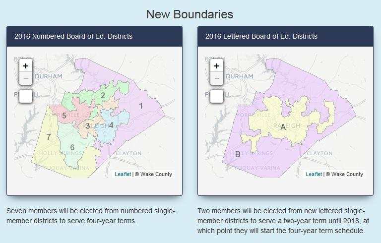 Two maps show new boundaries for Wake County Schools starting in 2016.