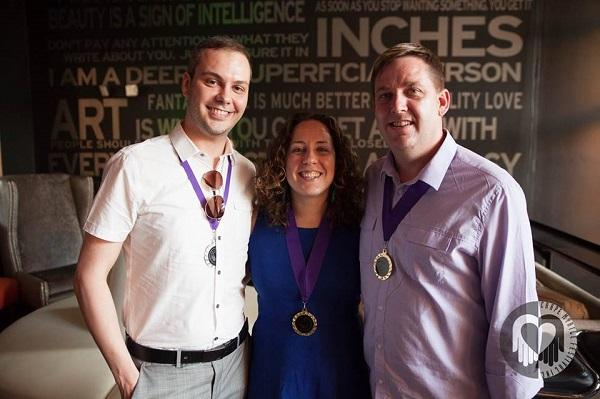 Justin (L) with Emily Scott and Kurt Hurlebrink, co-chairs of the Crape Myrtle Festival, a nonprofit supporting people living with HIV/AIDS.