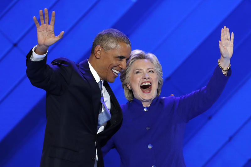 An image of President Obama and Democratic presidential nominee Hillary Clinton