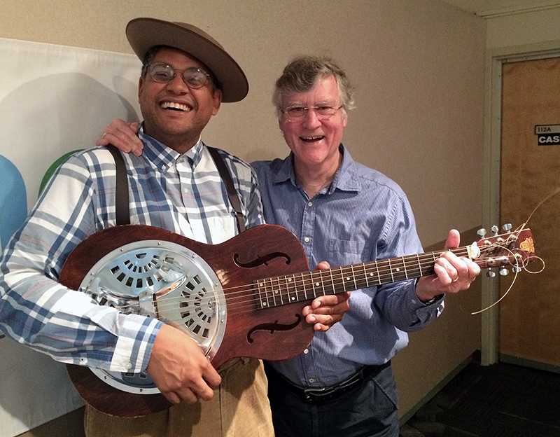 American Songster Podcast host Dom Flemons with Bill Ferris in the WUNC Chapel Hill Studios