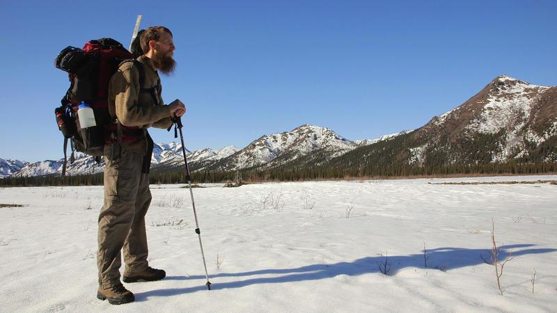 Film Still: U.S. National Park Service Soundscape Technician Davyd Betchkal looks over Denali National Park.