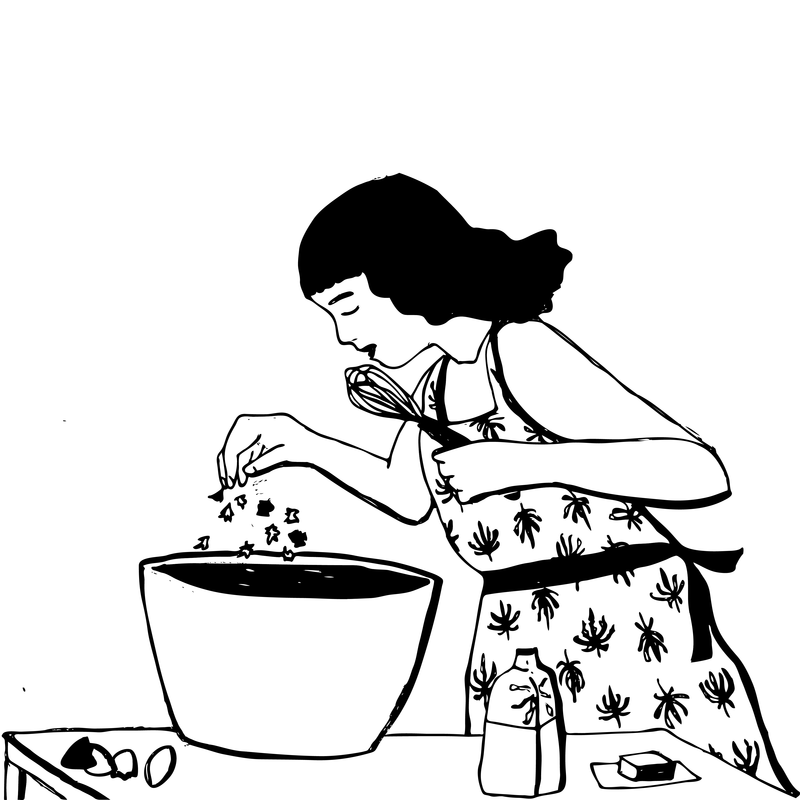 A drawing of Meridy Volz baking.