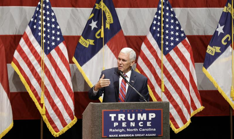 Republican Vice presidential candidate, Indiana Gov. Mike Pence speaks during a town hall meeting in Raleigh, N.C., Thursday, Aug. 4, 2016.