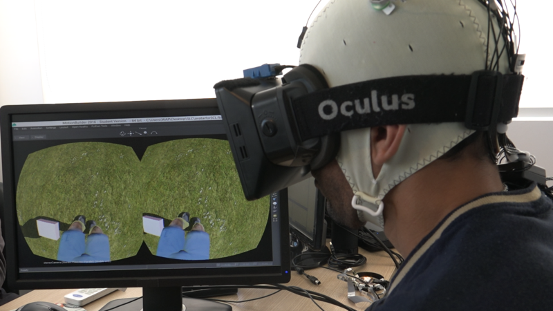 Photo of patient using virtual reality system