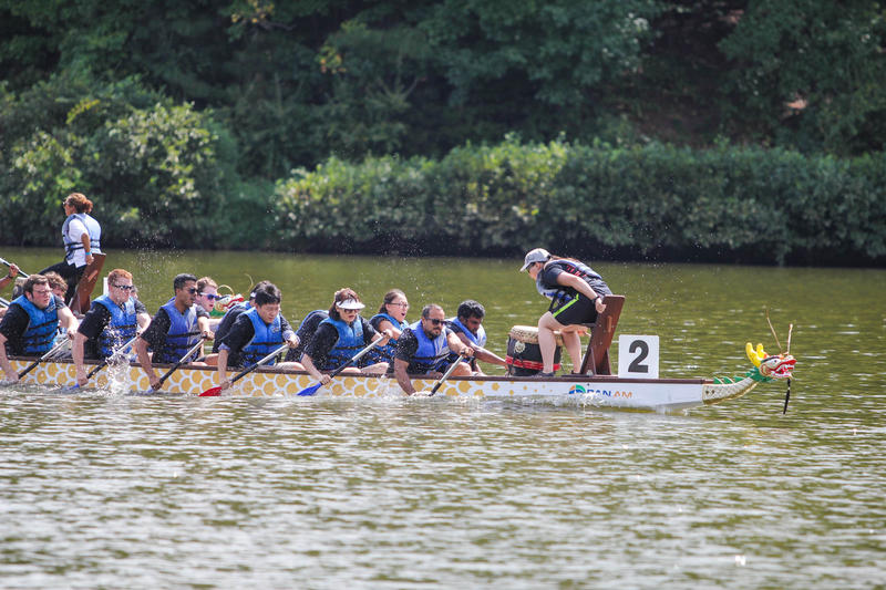 Participants in the 2016 Dragon Boat Race in Cary, NC