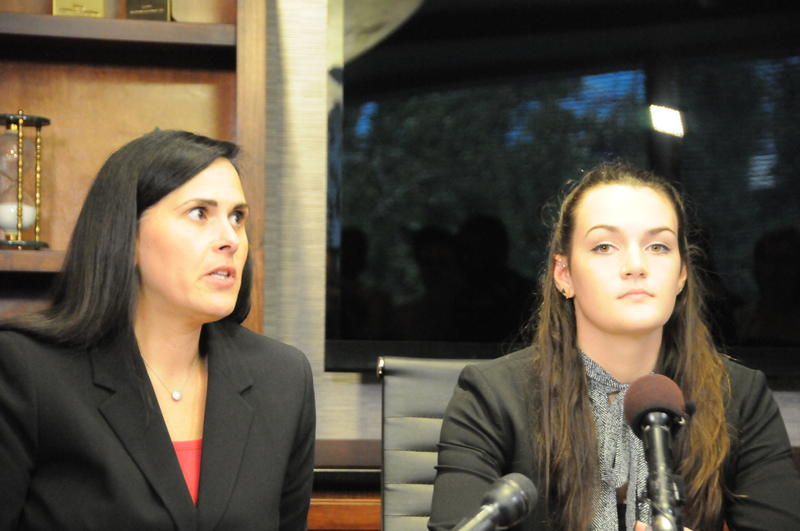 UNC-Chapel Hill Sophomore Delaney Robinson (right) and her attorney Denise Branch told reporters they believe the university is not adequately responding to Robinson's alleged rape.