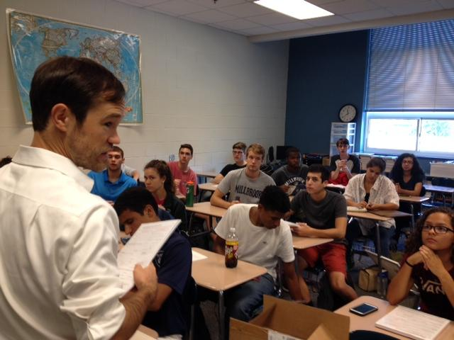 Millbrook history teacher Brian Schneiderwind had his AP U.S. History class go classroom to classroom to get their peer preregistered.