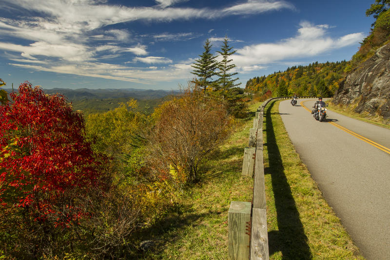 A view of the Blue Ridge Parkway on October 11, 2016 north of Devil's Couthouse in western North Carolina.