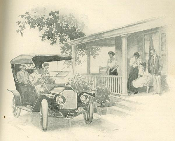 Dorothy the Motor-Girl celebrates the arrival of her car in an image from St. Nicholas magazine in 1911. St. Nicholas was a popular children's magazine that featured some of the most celebrated writers of the 19th century.