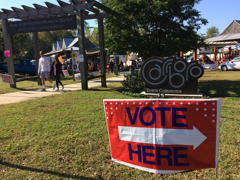 a vote here sign in Carrboro