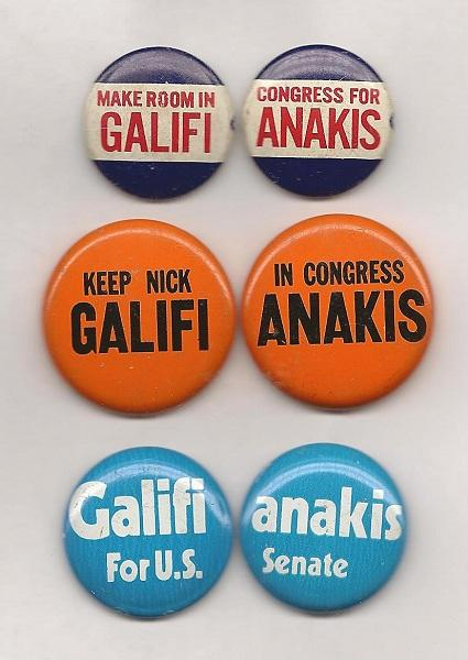 Political pins show off the name and campaign slogans of former US Congressman Nick Galifiniakis.