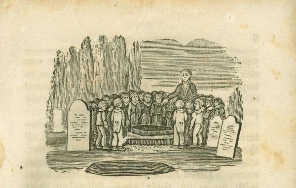 Sunday school students and their teacher gather around the coffin of George Cook. This image was featured in an 1823 issue of Youth's Friend, a conservative magazine that used scare tactics to encourage the development of particular moral values.