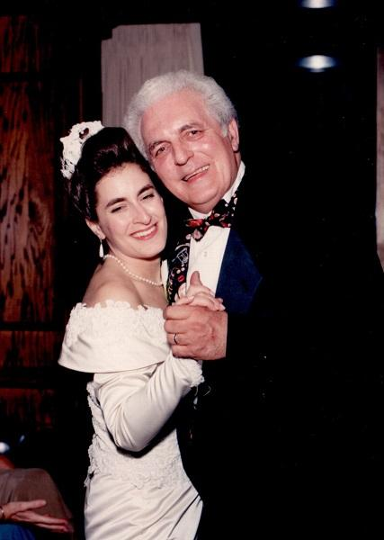 Michelle Moog-Koussa with her father Bob Moog at her wedding in 1993.