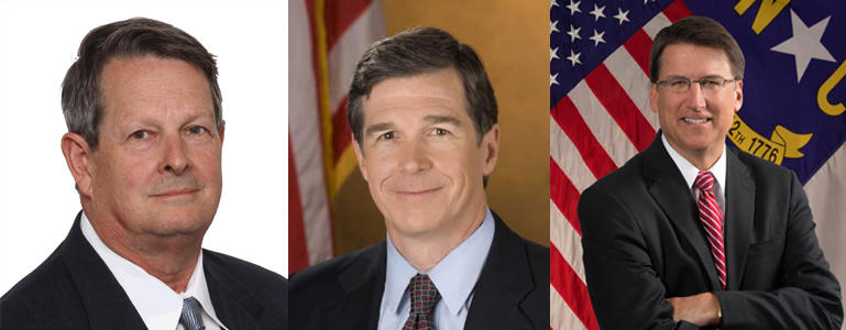 Candidates in the race for North Carolina's governor, from left to right: Libertarian Lon Cecil,  Democrat Roy Cooper and Republican incumbent Pat McCrory.