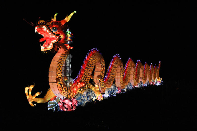a 196-foot-long lit Chinese Dragon