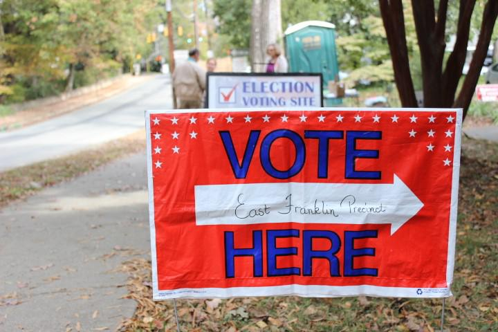 A vote here sign in Chapel Hill